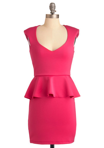 Lucky Date Dress - Mid-length, Pink, Solid, Cutout, Party, Vintage Inspired, Sleeveless, Sheath / Shift, Ruffles, Pinup
