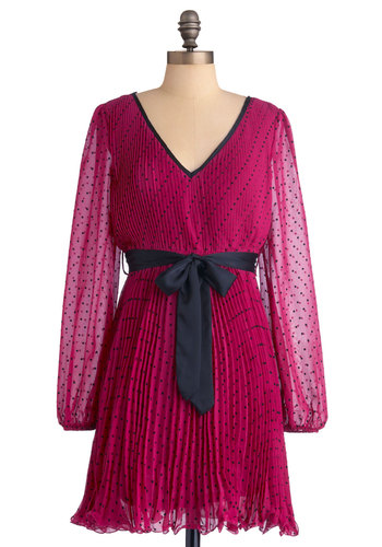 Pomegranate Daiquiri Dress - Short, Pink, Black, Polka Dots, Pleats, Long Sleeve, A-line