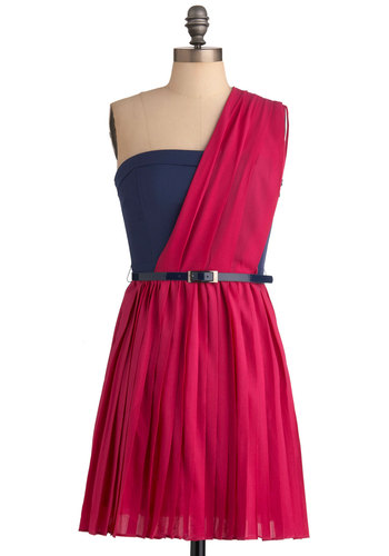 You Look Sash-ing Dress - Mid-length, Pink, Blue, Party, One Shoulder, Pleats, Shift, Belted