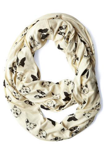 Woof There It Is Scarf - Casual, 90s, Cream, Black, Print with Animals, International Designer