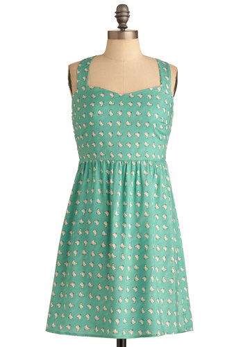Good Cluck Dress - Mid-length, Casual, Green, Print with Animals, Tan / Cream, A-line, Tank top (2 thick straps)