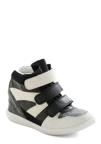 Height and Seek Wedge - Black, Grey, White, Casual, Urban, Fruits, Multi, Wedge, 90s, Leather, Mid