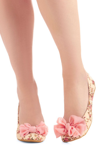 Fleur with Destiny Flat in Pink - Cream, Multi, Green, Pink, Floral, Bows, Casual, Spring