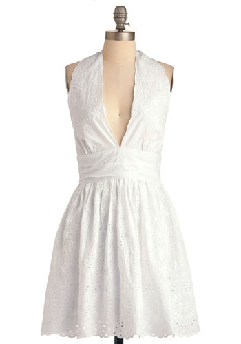 Caught Your Eyelet Dress by BB Dakota - Mid-length, White, Party, A-line, Halter, Eyelet, Spring
