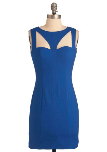 Just Begun to Stun Dress - Short, Blue, Solid, Cutout, Party, Mini, Shift, Sleeveless