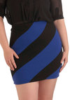 Going, Going, Diagonal Skirt - Plus Size - Black, Stripes, Short, Blue, Party, Mini
