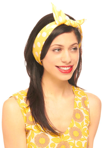 Through the Wire Headband in Dottie - Yellow, Tan / Cream, White, Polka Dots, Casual, Vintage Inspired, Rockabilly, Pinup, Yellow, Tan, Bows, Nautical