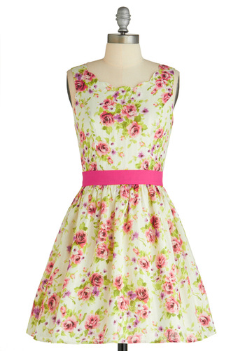 Reverie of Roses Dress - Prom, Wedding, Multi, Pink, White, Floral, Bows, 50s, A-line, Sleeveless, Spring, Short, Exclusives, Pastel, Cotton, Daytime Party, Fit & Flare