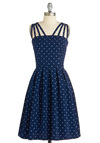 In the Mood for Dots Dress - Rockabilly, Pinup, Vintage Inspired, Blue, White, Polka Dots, Party, A-line, Sleeveless, Mid-length, Summer, Fit & Flare