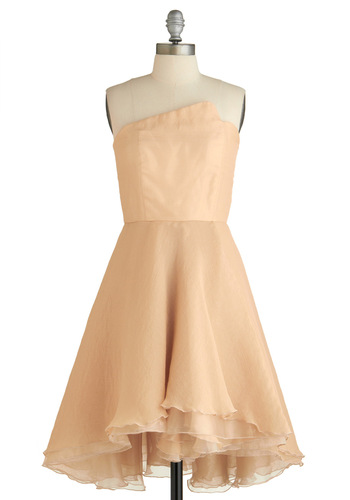 Sipping Champagne Dress - Tan, Cream, Solid, Ruffles, Tiered, Prom, Wedding, A-line, Strapless, Long, Exclusives, Pastel, Cocktail, Fit & Flare, Bride