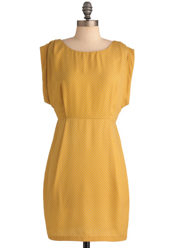 Showered with Compliments Dress in Gold - Mid-length, Yellow, Sheath / Shift, Blue, Polka Dots, Work, Vintage Inspired, 60s, Cap Sleeves