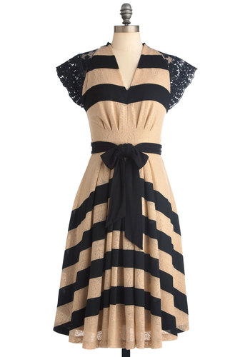 Pointelle Made Dress by Eva Franco - Black, Stripes, Pleats, Cap Sleeves, Vintage Inspired, Long, Tan, Lace, Scallops, Wedding, Party, Sheath / Shift