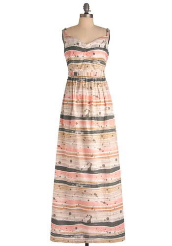 Former and Splatter Dress by Nümph - Long, Multi, Pink, Cutout, Maxi, Tan / Cream, Grey, Print, Spaghetti Straps