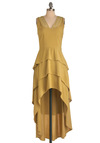 Clover Honey Dress - Mid-length, Yellow, Solid, Tiered, Sleeveless, Casual, Statement, Eyelet