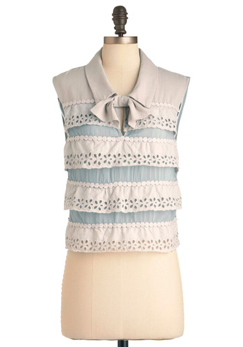 Before and Crafter Top - Short, Fruits, Grey, Blue, Bows, Eyelet, Tiered, Trim, Work, Sleeveless, Spring