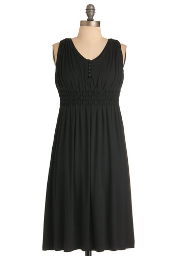 One Tuesday Dress in Black - Casual, Black, Solid, Buttons, Sheath / Shift, Sleeveless, Long