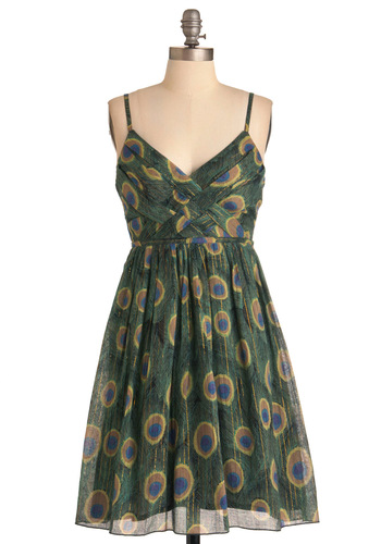 Sweet Peacock Dress - Mid-length, Green, Blue, Empire, Spaghetti Straps, Print, Woven, Party, Cotton