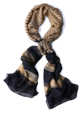 Shoot the Breezeway Scarf - Tan / Cream, Stripes, Blue, Casual