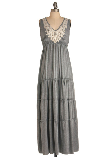 Wake Up and Style Dress - Long, Casual, Boho, Grey, White, Crochet, Maxi, Tank top (2 thick straps), Travel, Basic