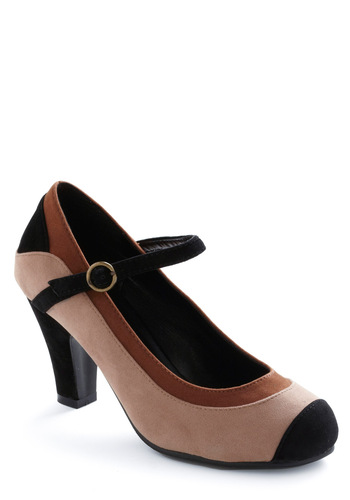Drum and Base Heel - Brown, Tan / Cream, Black, Work, Faux Leather, Mary Jane, Mid
