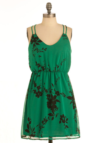 Greenery Goddess Dress - Mid-length, Green, Black, Floral, Spaghetti Straps, Summer