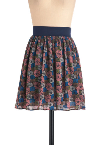 Unfold Stories Skirt - Mid-length, Floral, Casual, Multi, Blue, Pink, Tan / Cream