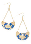 Moon Phases Earrings - Blue, Gold, Boho