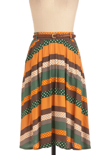 Washi and Learn Skirt in Orange and Green - Brown, Polka Dots, Pockets, Multi, Yellow, Green, Belted, Long