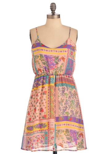 Handkerchief of Style Dress - Mid-length, Casual, Multi, Yellow, Blue, Floral, Spaghetti Straps, Pastel