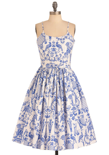 Two if by Tea Dress by Bernie Dexter - Long, Blue, White, Print, Pockets, Vintage Inspired, Spaghetti Straps, Cotton, Daytime Party, Fit & Flare, Spring, Graduation
