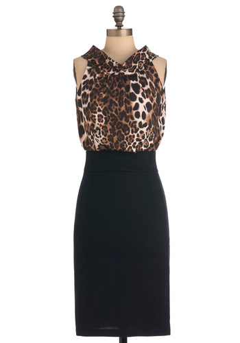Leopard-y Guest Dress - Long, Party, Work, Pinup, Vintage Inspired, Black, Animal Print, Twofer, Brown, Halter