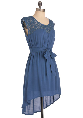 As You Lake It Dress - Short, Blue, Solid, Lace, Casual, Shift, Cap Sleeves