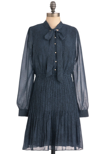 Real Estate Extraordinaire Dress in Navy - Mid-length, Vintage Inspired, Blue, Animal Print, Bows, Buttons, Pleats, Long Sleeve, Black, Work, 60s, Sheath / Shift