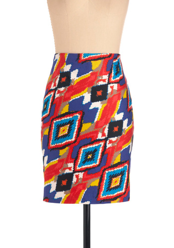 Celebrate in Color Skirt - Mid-length, Multi, Work, Red, Yellow, Blue, White, Print, Party, Urban