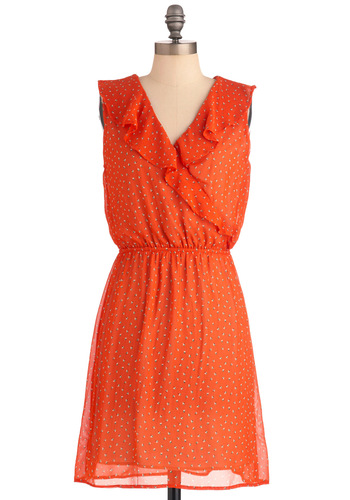 Memories in the Breeze Dress - Mid-length, Casual, Orange, Multi, Print, Ruffles, Sleeveless, Sheer, V Neck