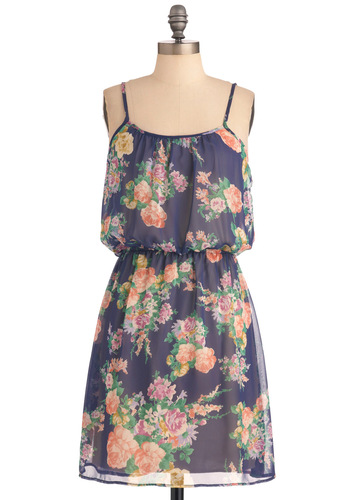 An Amiable Afternoon Dress in Floral - Mid-length, Casual, Blue, Multi, Multi, Floral, Sheath / Shift, Spaghetti Straps