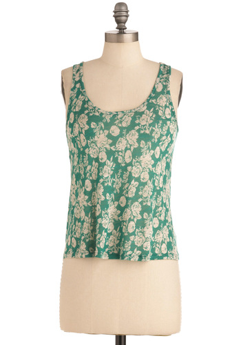 Cut Out for Gardening Top - Green, Floral, Cutout, Casual, Tan / Cream, Sleeveless, Mid-length
