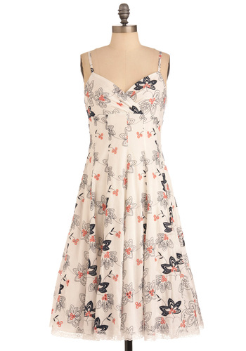 Let's Make a Daffo-Deal Dress in White - Long, Casual, Vintage Inspired, White, Floral, A-line, Spaghetti Straps, Multi, Blue, Pink, Embroidery, Cotton, Fit & Flare, V Neck