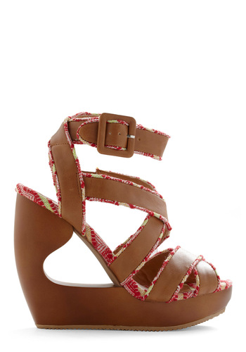 Wild Wild Wedge - Brown, Multi, Cutout, Trim, Party, Wedge