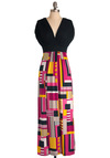 City Spectacle Dress - Long, Multi, Yellow, Pink, Black, Print, Vintage Inspired, Maxi, Short Sleeves, Holiday Sale, V Neck