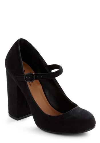 In Haute Pursuit of Style Heel in Black - Work, Vintage Inspired, Black, Solid, Mary Jane