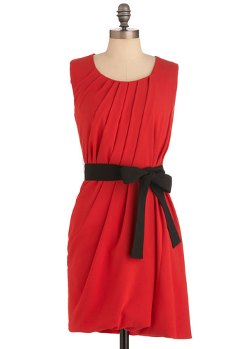 Persimmon Says Dress - Mid-length, Red, Black, Solid, Pleats, Shift, Sleeveless, Party, Cocktail
