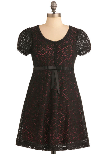 Dreams of You Dress in Black - Short, Black, Print, Bows, Buttons, Lace, Empire, Pink, Casual, Mini, Short Sleeves, 90s, Steampunk, Sheer