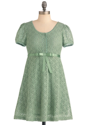 Dreams of You Dress in Sage - Short, Green, Solid, Bows, Buttons, Lace, Empire, Casual, Mini, Short Sleeves, 90s, Sheer, Mint, Pastel