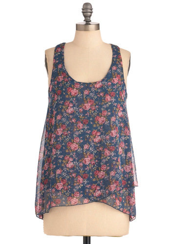 Truly Dreamy Top - Floral, Casual, Racerback, Multi, Blue, Pink, Sheer, Mid-length