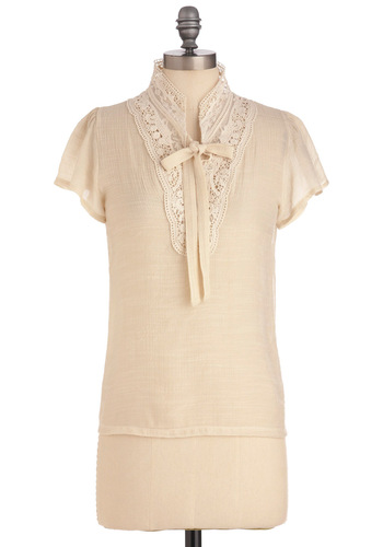 Merry in the Morning Top - Mid-length, Cream, Solid, Bows, Buttons, Boho, Short Sleeves, Lace, Tie Neck, Sheer