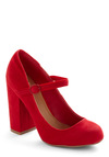 In Haute Pursuit of Style Heel in Red - Work, Vintage Inspired, Red, Solid, Mary Jane