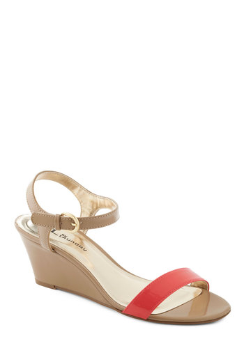 Draw the Line Wedge in Coral - Tan, Pink, Party, Summer, Wedge