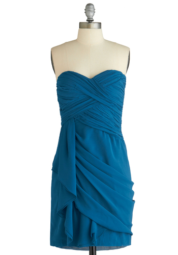 Wave to the Crowd Dress - Blue, Solid, Ruffles, Strapless, Prom, Wedding, Party, Tiered, Sheath / Shift, Mid-length, Chiffon, Ruching, Sweetheart, Bridesmaid