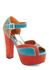 The Bold-en Touch Heel - Blue, Cutout, Orange, Party, Statement, Platform, Peep Toe, High